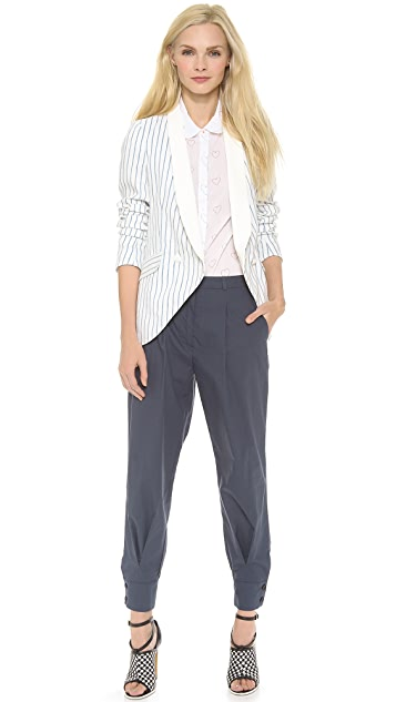 Band of Outsiders Stripe Suiting Leather Shawl Blazer