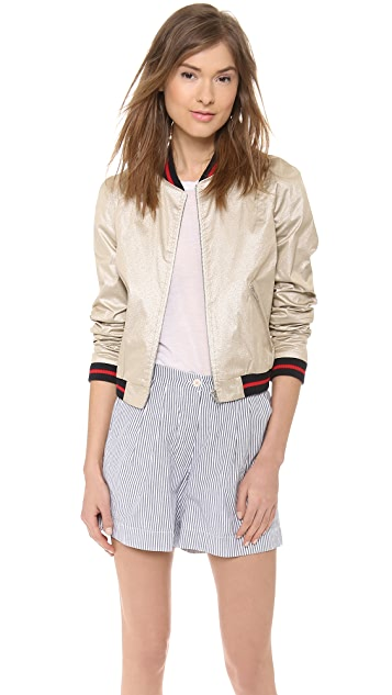 Band of Outsiders Gold Tech Baseball Jacket