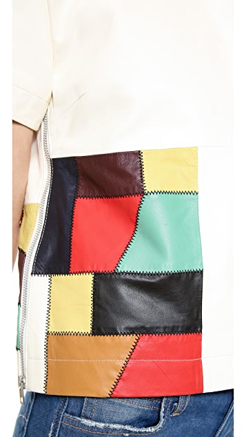 Band of Outsiders Patchwork Leather Top