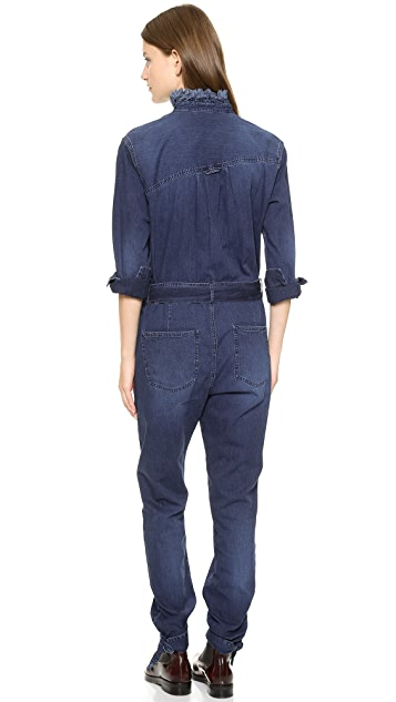 Band of Outsiders Denim Long Sleeve Stand Collar Jumpsuit