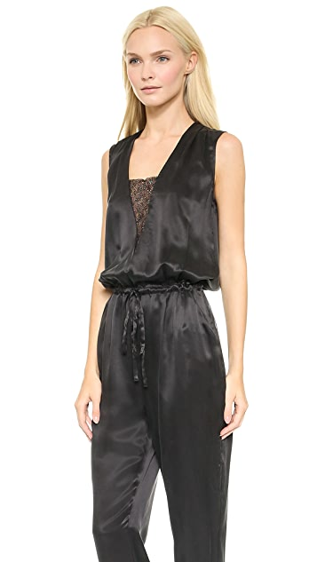 Band of Outsiders Silk & Lace Sleeveless Jumpsuit