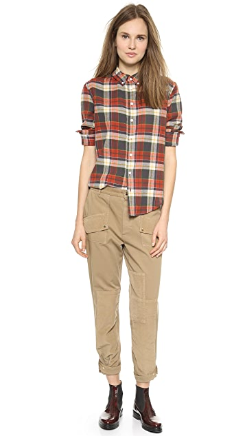 Band of Outsiders Tartan Plaid Boyfriend Shirt