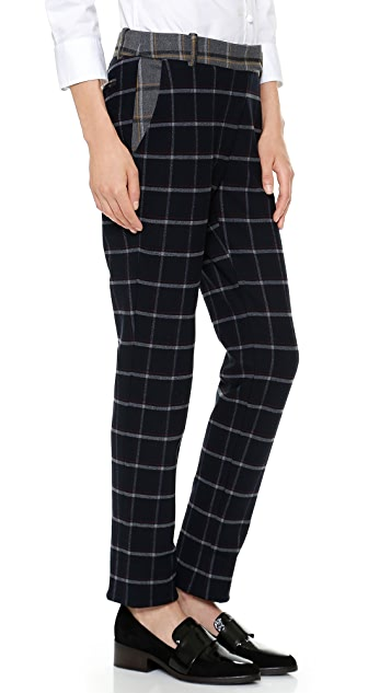 Band of Outsiders Mixed Plaid Cuffed Pants