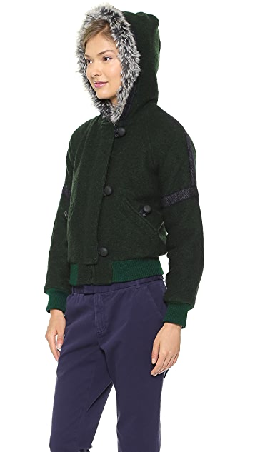 Band of Outsiders Hooded Zip Jacket with Faux Fur
