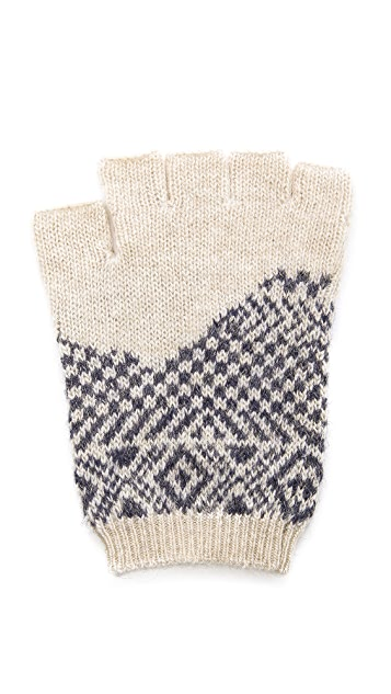 Band of Outsiders Broken Fair Isle Fingerless Gloves