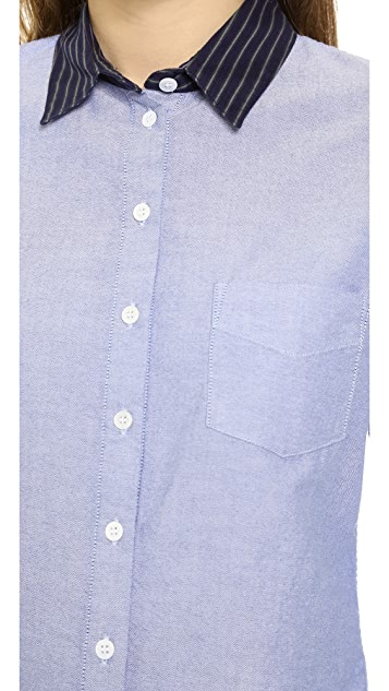 Band of Outsiders Oxford Easy Shirt with Contrast Collar