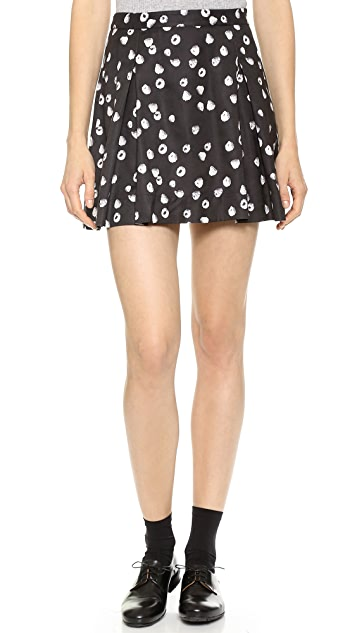 Band of Outsiders Raspberries Pleated  Miniskirt