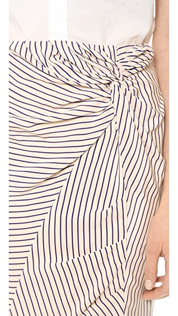 Band of Outsiders Striped Silk Knot Skirt