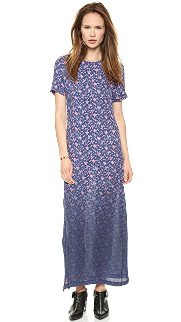 Band of Outsiders Dip Dye Mini Rose Silk Maxi Dress