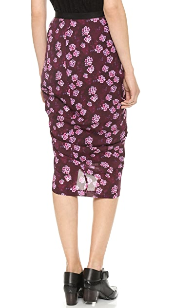 Band of Outsiders Cherry Blossom Draped Skirt