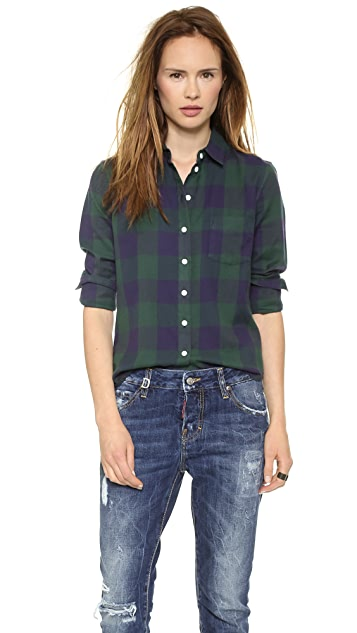 Band of Outsiders Large Square Plaid Easy Shirt
