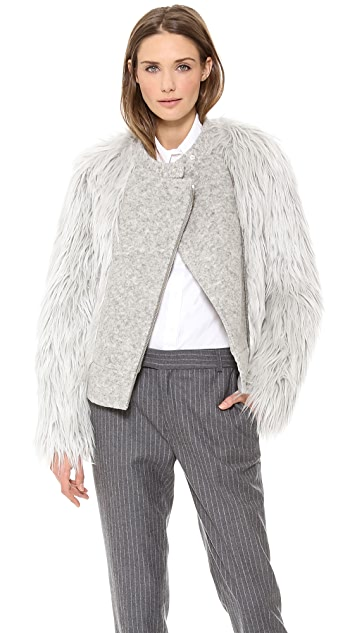 Band of Outsiders Faux Fur Biker Jacket