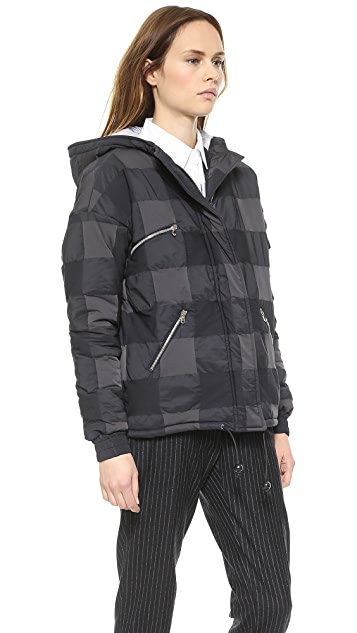 Band of Outsiders Nylon Check Puffer Jacket