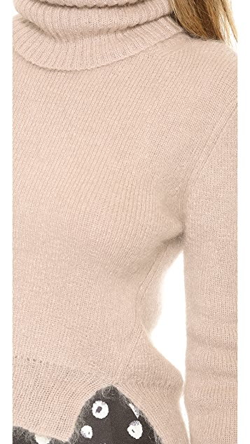 Band of Outsiders Croppped Turtleneck with Tilted Seams