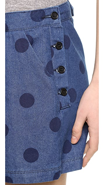 Band of Outsiders Denim Dot Side Button Shorts