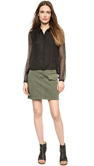 Band of Outsiders Scattered Dot Silk Blouse