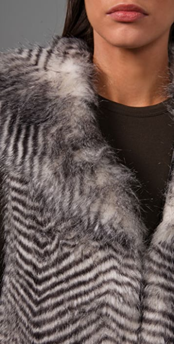 BB Dakota Janika Striped Faux Fur Vest
