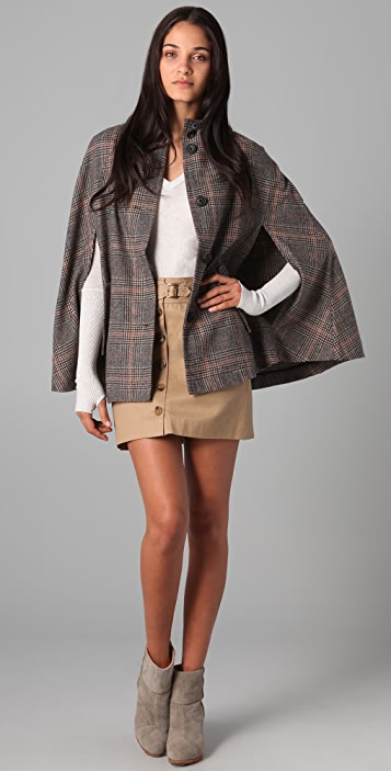 BB Dakota Calhoun Plaid Hooded Poncho