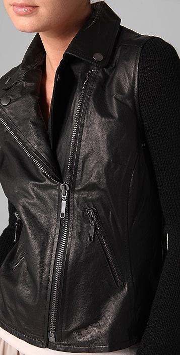 BB Dakota Pearlman Leather Moto Jacket with Knit Sleeves