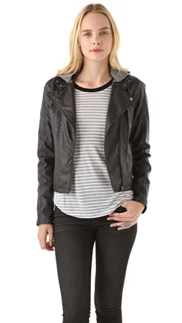 BB Dakota Faux Leather Jacket with Fleece Hood