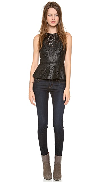 BB Dakota Perforated Peplum Top