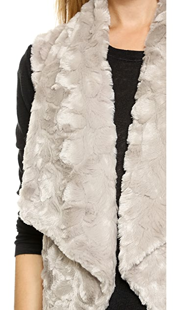 BB Dakota Stanic Draped Faux Fur Vest
