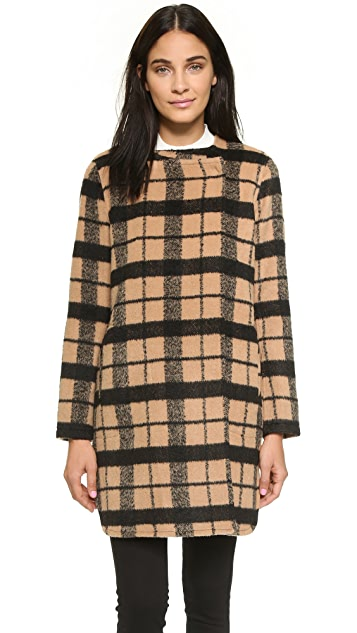 BB Dakota Kellen Collarless Wool Plaid Coat