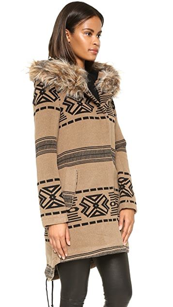 BB Dakota Brenden Jacquard Coat W/Fur Trim Hood