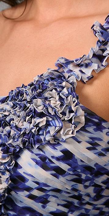 BCBGMAXAZRIA Print One Shoulder Dress