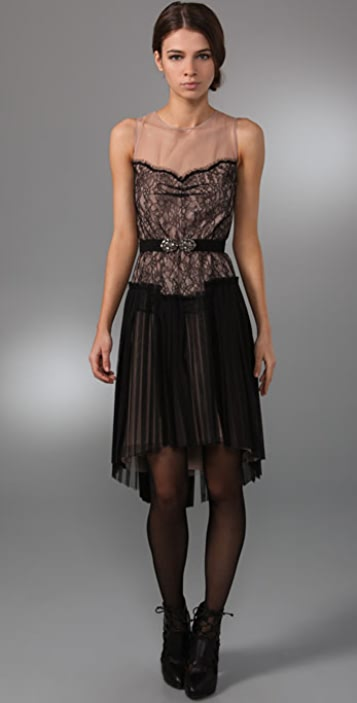 BCBGMAXAZRIA Lace Dress with Draped Skirt