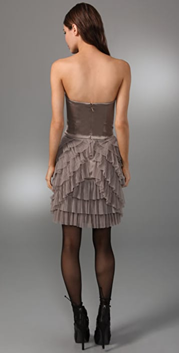 BCBGMAXAZRIA Strapless Dress with Pleated Petal Skirt