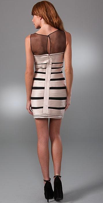 BCBGMAXAZRIA Stretch Satin Dress with Tulle