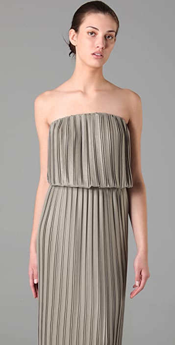 BCBGMAXAZRIA Mateo Strapless Pleated Dress