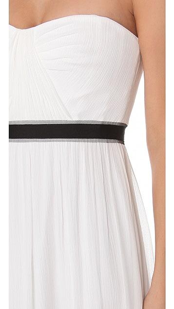 BCBGMAXAZRIA Amber Strapless Cascade Gown