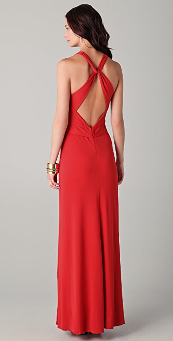 BCBGMAXAZRIA Sophia V Neck Draped Gown