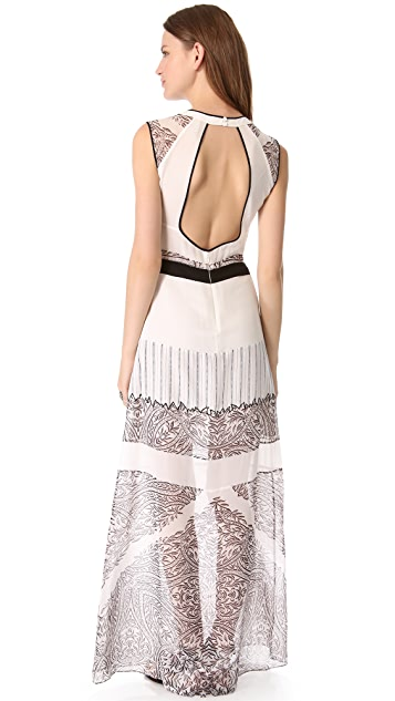 BCBGMAXAZRIA Lace Print Maxi Dress