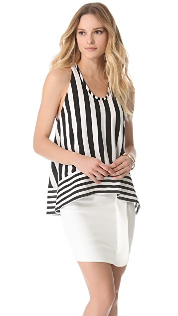 BCBGMAXAZRIA Long High Low Stripe Shirt