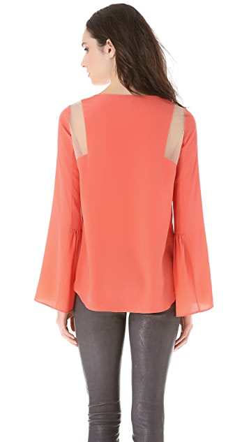 BCBGMAXAZRIA Sheer Shoulder Top