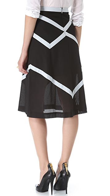 BCBGMAXAZRIA Tea Length Ribbon Skirt