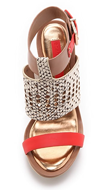 BCBGMAXAZRIA Architectural Wedge Sandals