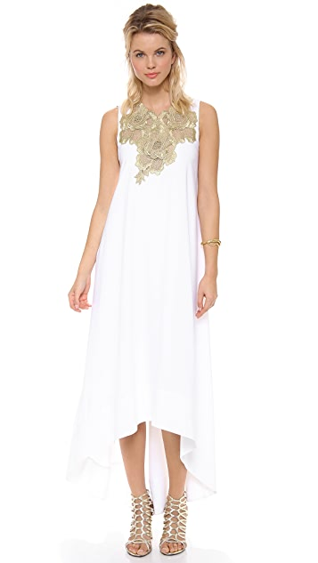 BCBGMAXAZRIA Embellished Neck Open Back Dress