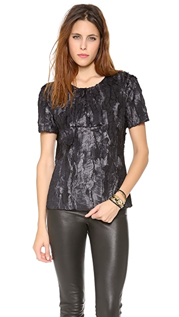 BCBGMAXAZRIA Textured Short Sleeve Top