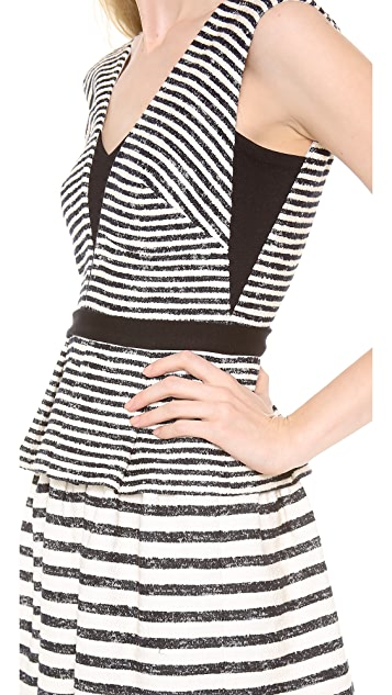 BCBGMAXAZRIA Piper Striped Peplum Dress