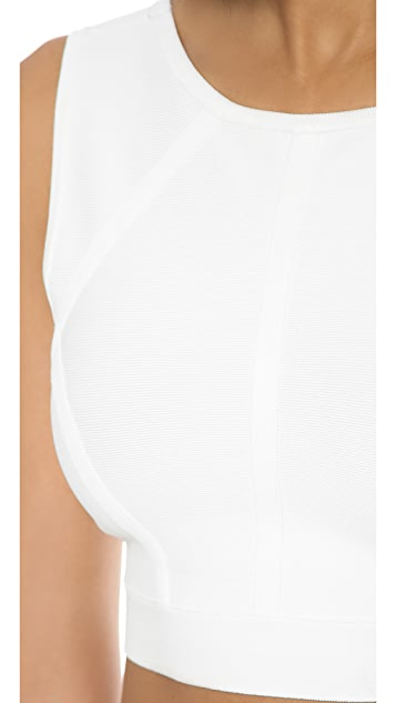 BCBGMAXAZRIA Fenella Cropped V Back Sweater