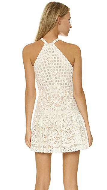 BCBGMAXAZRIA Deep V Lace Minidress