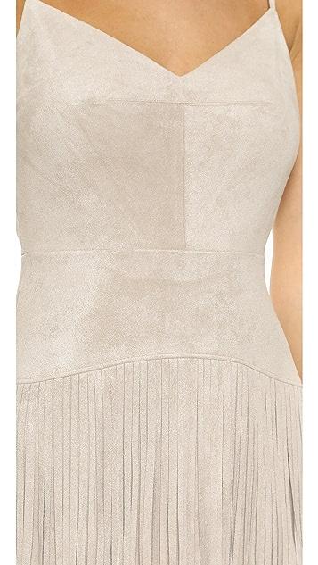 BCBGMAXAZRIA Платье из микрозамши с бахромой