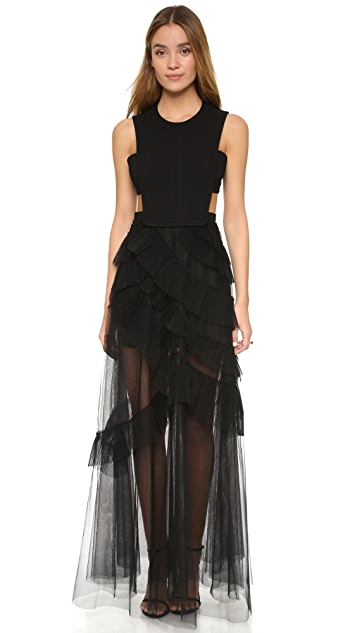 662134af0b BCBGMAXAZRIA Tulle Cutout Gown