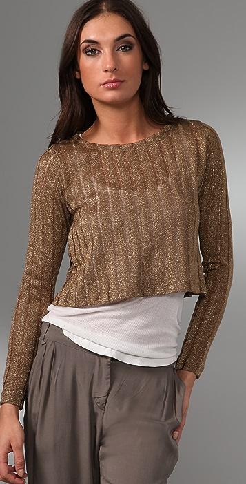 Bec & Bridge Dune Cropped Metallic Sweater