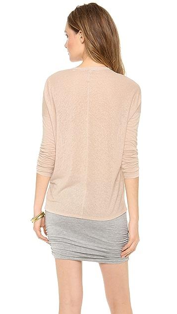 Bella Luxx Linen Long Sleeve Seamed V Neck Top
