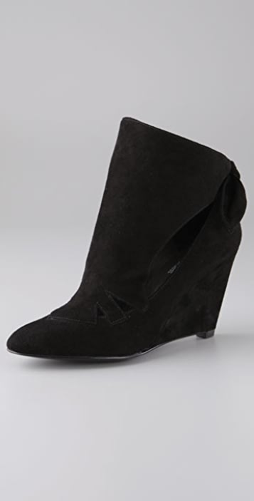 Belle by Sigerson Morrison Tie Back Wedge Suede Booties